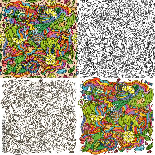 Cartoon vector tea party. Set of four illustrations