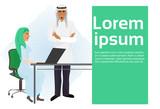Arab Business Man Boss Standing At Businesswoman Secretary Working At Laptop Computer Vector Illustration - 200895174
