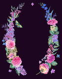 Watercolor pink roses and lilacs wreath - 200897950