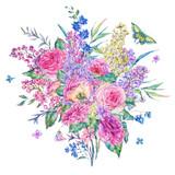Watercolor pink roses and lilacs greeting card - 200898108