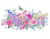 Watercolor pink roses and lilacs greeting card - 200898357