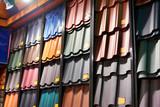 Samples of metal tiles roof in building store - 200898700