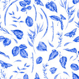 Watercolor seamless pattern with blue leaves - 200899341