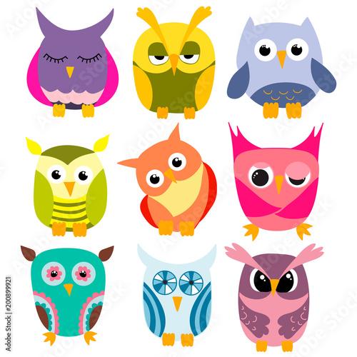 Keuken foto achterwand Uilen cartoon set of cartoon owls