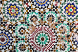 Beautiful ancient mosaic in many colors from Fes, Morocco. - 200901975