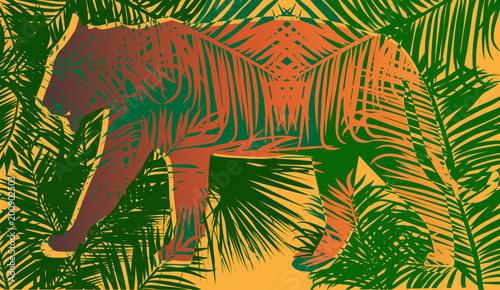 pomarańczowa sylwetka tygrysa między zielonymi liśćmi