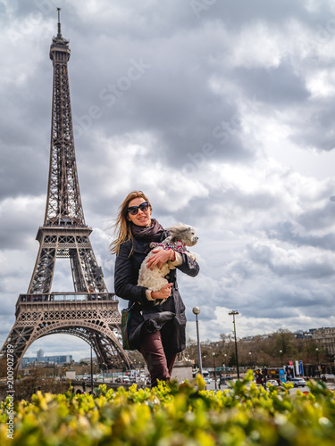 Girl with Shih Tzu in Paris