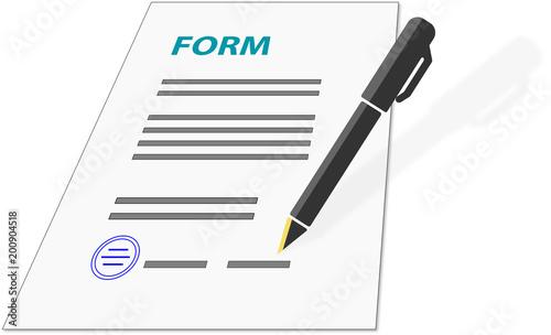 formularz, wzór, podpis, pojedyncze, białe tło z piórem, wieczne pióro