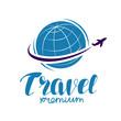 Travel logo or label. Journey, tour, voyage symbol. Vector illustration