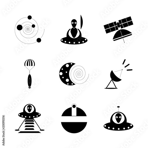 icon Cosmos with half moon, ufo, global, astronomy and gps