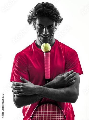 Fotobehang Tennis one caucasian hispanic tennis player man in studio silhouette isolated on white background