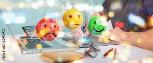 Graphic designer using customer satisfaction rating 3D rendering © sdecoret