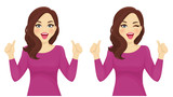 Surprised woman thumbs up vector illustration set - 200920783