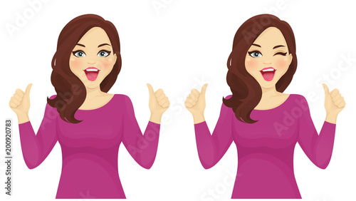 Surprised woman thumbs up vector illustration set