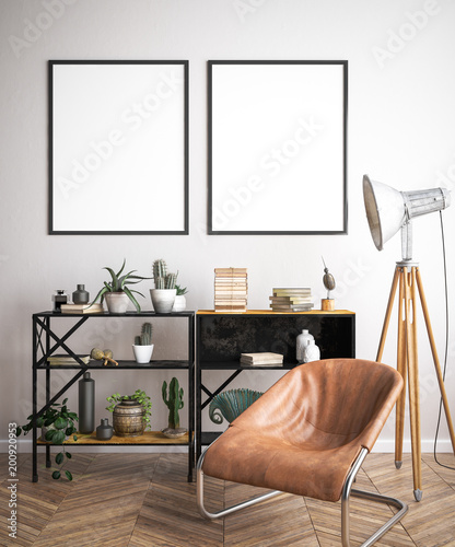 Mock up poster frame in hipster interior background, 3D render © artjafara