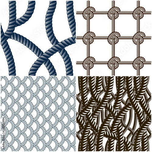 Rope seamless patterns set, trendy vector wallpaper backgrounds collection. Endless navy illustrations with fishing net ornament and marine knots