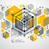 Vector abstract yellow background created in isometric mesh lines style. Mechanical scheme, vector engineering drawing with cube and mechanism parts. Perfect background for your design projects