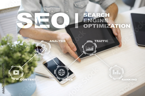 SEO. Search Engine optimization. Digital online marketing andInetrmet technology concept.