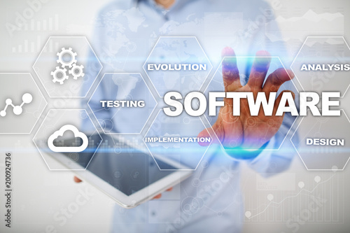 Software development. Data Digital Programs System Technology Concept.