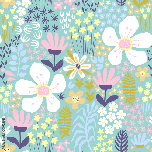 Colorful vector floral pattern - 200928931