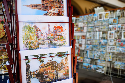 Sticker STRASBOURG, FRANCE - March 24, 2018: pictures of the city exhibited for sale