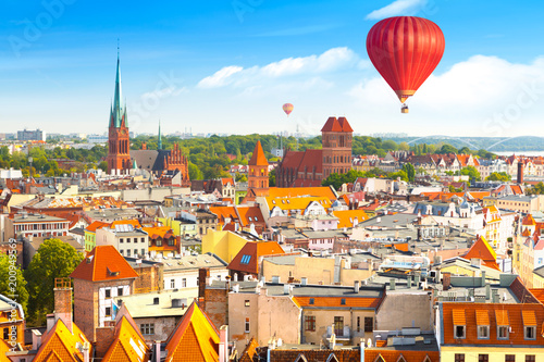 Fotobehang Praag Aerial panoramic view of historical buildings and roofs in Polish medieval town Torun