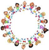 Ein Kreis glücklicher Kinder - Vektor-Illustration