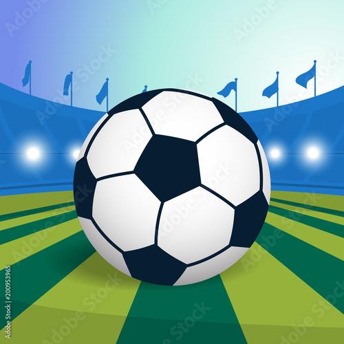 Fotobehang Bol Soccer ball on field