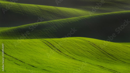 rolling hills in Moravia Czech republic spring time
