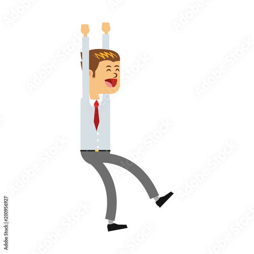 Happy businessman with hands up vector illustration graphic design