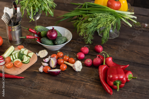 Sticker Fresh healthy organic vegetables. Food background
