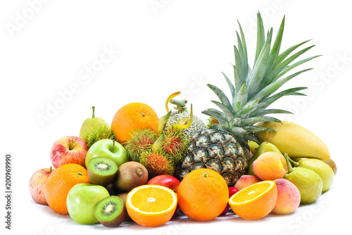 Group of tropical fresh fruits and vegetables isolated on white background