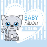 baby boy shower card. cute cat with heart and space for text