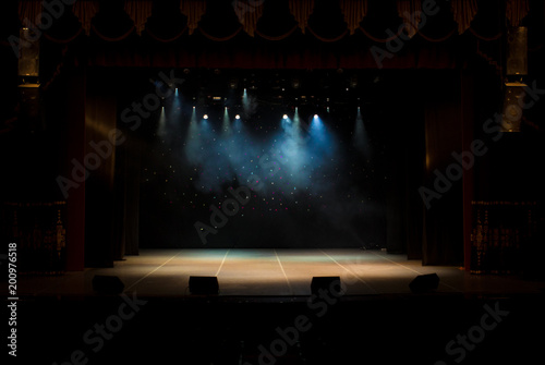 scene, stage light with colored spotlights and smoke