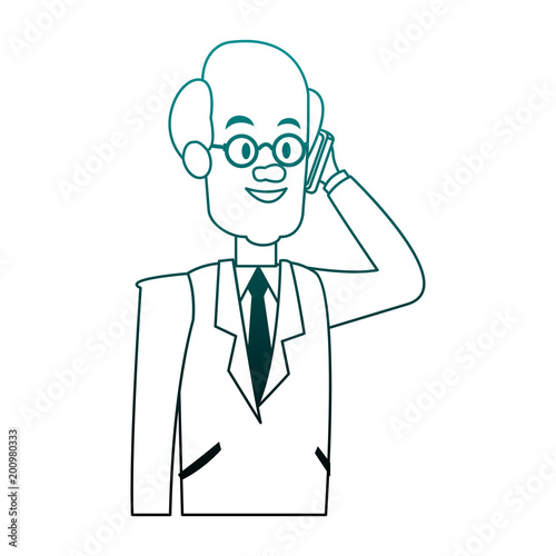 Businessman calling with smartphone vector illustration graphic design