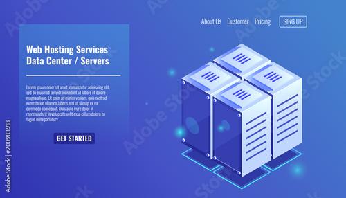 Serwerownia, izometryczny stojak ikona, serwis hostingowy, koncepcja centrum danych wektorowych ilustracji