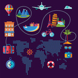 set of flat icons for travel around the world - 200984563