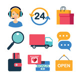 set of flat vector icons for online shopping - 200984570