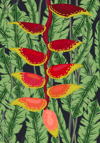 Wall mural Tropical Palm Leaves and Flowers Background. Exotic Texture. Floral Wallpaper