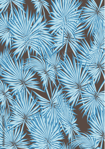 Tropical Palm Leaves and Flowers Background. Exotic Texture. Floral Wallpaper - 200990174