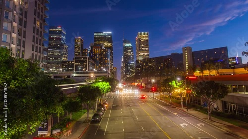 Sticker Cinematic hyperlapse ( timelapse in motion ) view of Downtown Los Angeles skyline and transition from day to night