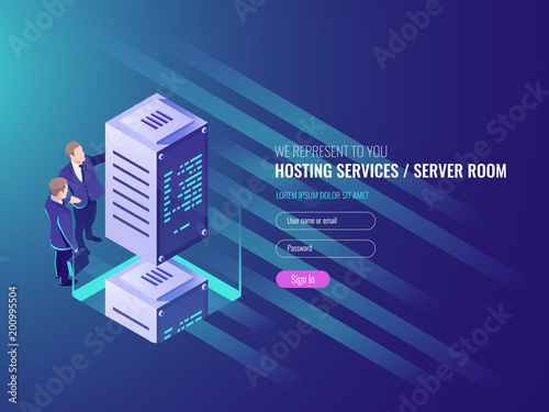 Hosting services concept, cryptocurrency and blockchain isometric composition, data center, big data processing mining crypto farm, energy station of future IT 3d vector