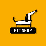 Funny dog, pet shop logo for your design