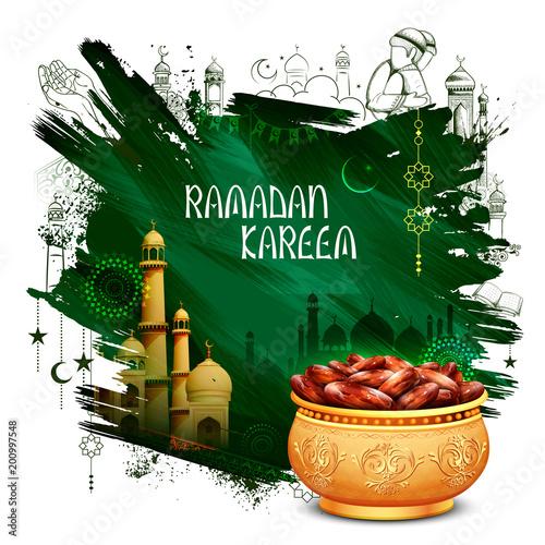 Ramadan Kareem Generous Ramadan greetings for Islam religious festival Eid with freehand sketch Mecca building - 200997548