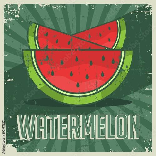 Fotobehang Vintage Poster Watermelon Vintage Retro Signage Vector