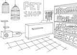 Pet shop store graphic interior black white sketch illustration vector - 200998110