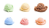 Six Different Scoops of Ice Cream, all different flavors