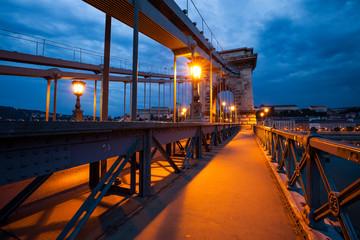 Chain Bridge, Budapest. Night city view