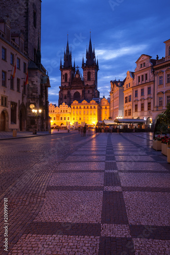 Fotobehang Praag The old city of Prague at night, capital of Czech Republic