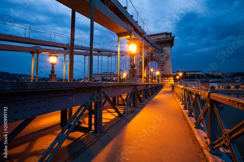 Fotobehang Boedapest Chain Bridge, Budapest. Night city view